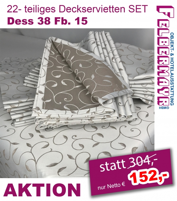 22- teiliges Deckservietten Set Dess 38 Fb. 15 ca. 80/80 cm