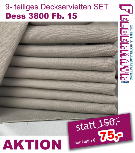 9- teiliges Deckservietten SET Dess 3800 Fb. 15 ca. 90/90 cm