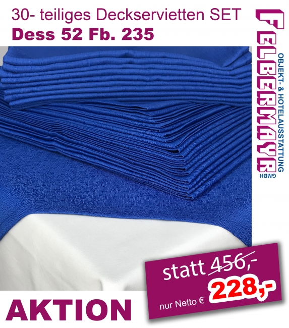 30- teiliges Deckservietten Set Dess. 52 Fb. 235 ca. 85/85 cm